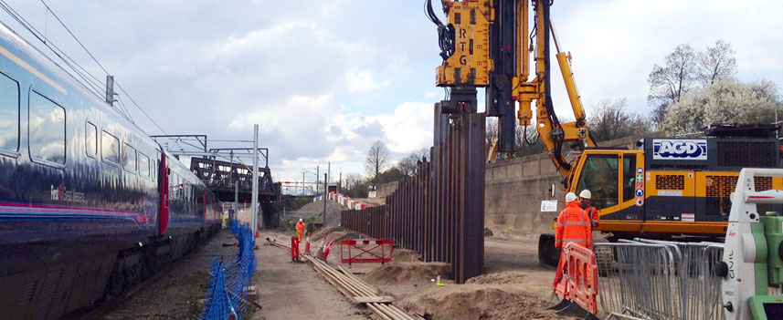 J N Piling completing piling works near a railway line