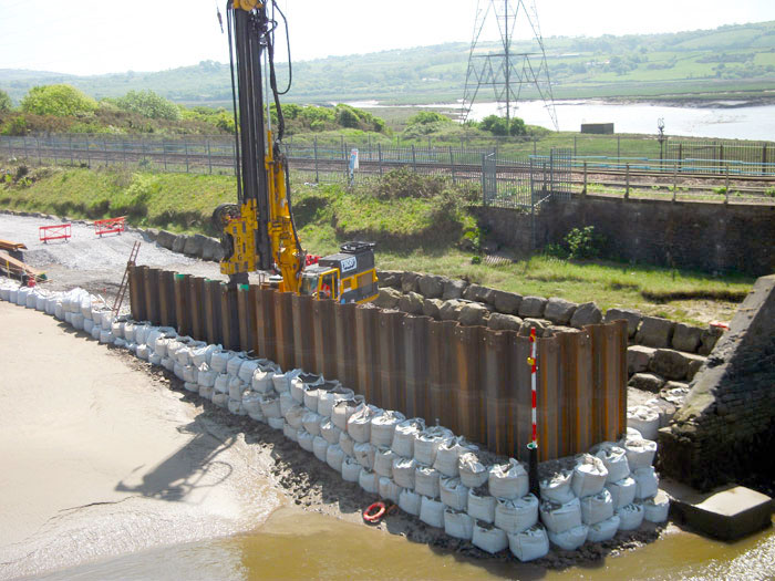 Telescopic Leader Rig at River Loughor viaduct replacement
