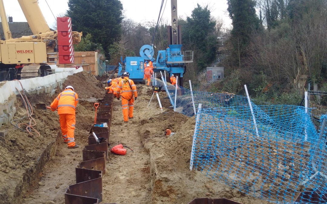 Installation of Permanent retaining wall at Blackheath, London