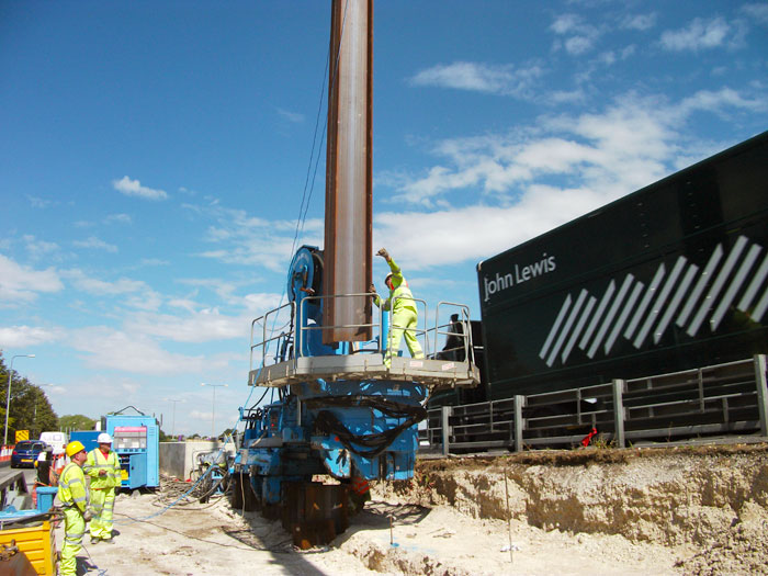 Vibration-free steel piling installation