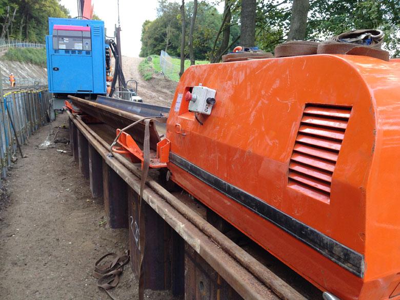 Steel piling railway embankment stabilisation on Metropolitan Line near Chesham