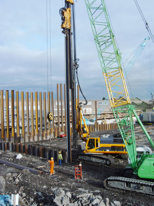 Steel sheet piling basement installation