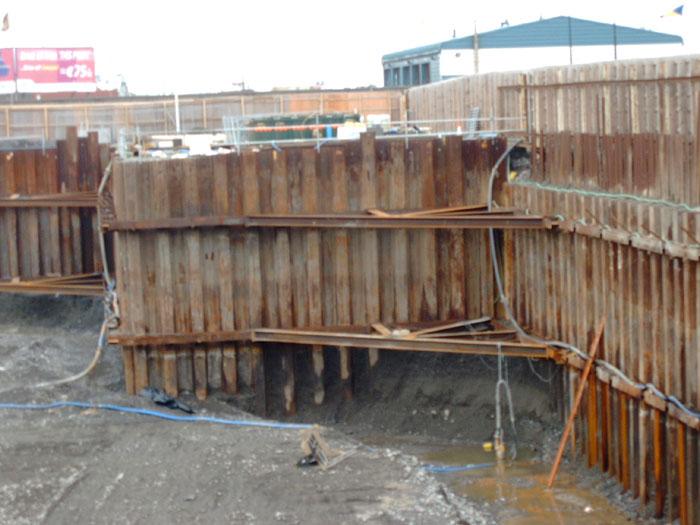 Steel sheet piling basement installation
