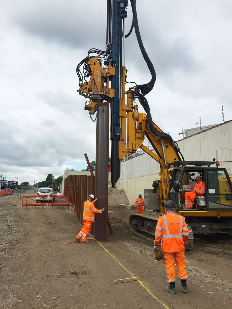 AZ steel sheet piles installed with telescopic leader rig at Old Oak Common Paddington Approach